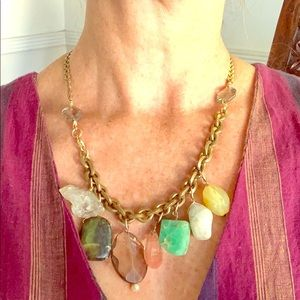 """Beautiful Crystal and Brass Necklace. 18 1/2"""""""